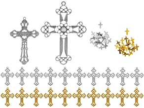 Cross Charm & Pendant Set/42pcs in Gold Tone & Silver Tone incl Assorted Styles