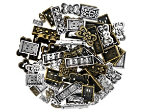 Metal Connector Set Incl 4 Styles In Antq Brass Tone & Antq Silver Tone incl 100 pcs total