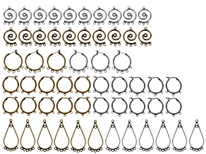 Earring Component Kit/60pcs in Assorted Styles incl Antique Gold Tone & Antique Silver Tone