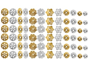 Bead Cap Set/72 Pcs in Gold Tone & Silver Tone incl 6 Assorted Sizes & Styles