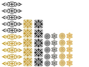 Filigree Component Kit in 4 assorted styles In gold tone & rhodium tone, 40 pieces total
