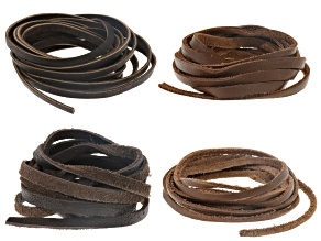 Deertan leather cord 3mm & 5mm Set of 4 in chocolate and saddle appx 2 Yards Each, 8 Yards Total