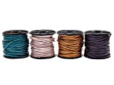 Metallic leather 1.5mm cord set of 4 in Suraiya, Truly Teal, Berry and Bronze appx 10 Meters each