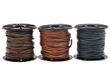 Leather cord 1.5mm set of 3 in natural blue, natural grey & natural light brown appx 10 meters each