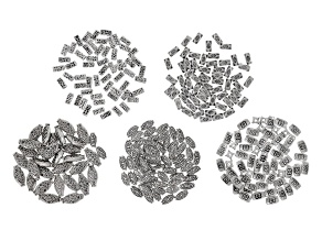 Assorted Metal Bead Set in Antiqued Silver Tone includes 5 styles appx 270 Pieces Total