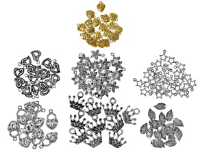 Assorted charm kit includes 7 styles in silver & gold tones 140 pcs total