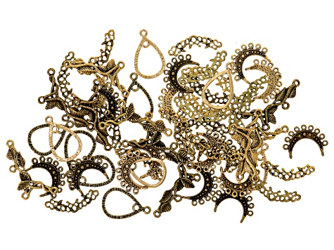 Assorted earring components, pendant components & connectors set in assorted gold tones