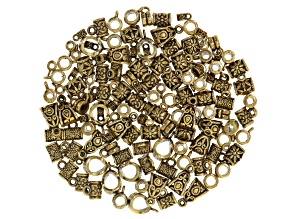 Assorted bail kit includes 6 styles in antique gold tone 130 pieces total