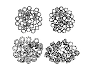 Decorative Spacer Bead Set includes 4 Assorted Styles in Antique Silver Tone appx 110 pieces total