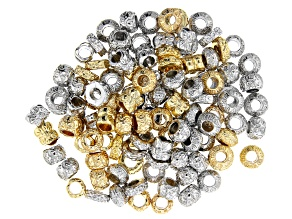 Decorative Spacer Bead Set in 4 Assorted Styles in Silver Tone & Gold Tone appx 110 pieces total