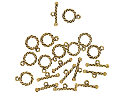 Assorted toggle clasp set includes 5 style in antique gold tone & antique silver tone 38 pairs total