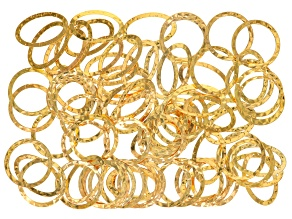 Hammered links assortment in gold tone includes round 25mm & oval 17x27mm appx 40 pieces each