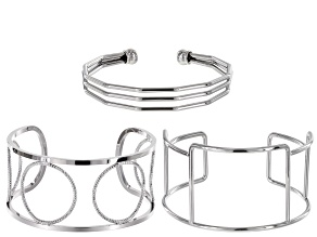 Cuff bracelet 3pc set in silver tone assorted styles