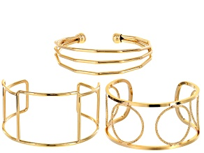 Cuff bracelet 3pc set in gold tone assorted styles