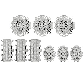Clasps 9 piece set in 3 assorted designs in rhodium tone over brass