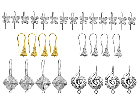 Assorted earring components incl 5 styles in gold tone & silver tone 30pcs total