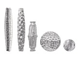Patterned Metal Beads incl 5 Assorted Styles in Silver Tone, 48 pcs total