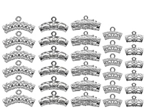Decorative bail set of 5 assorted styles in silver tone 38 pieces total