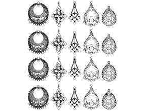 Ornamental Earring & Pendant Findings in Silver Tone in 5 assorted styles 20 Ttl Pcs