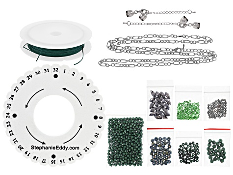 Pinkerton Plait 7-strand cord braiding necklace & bracelet supply & project kit in emerald color