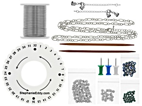 With Bells On 10 Strand Wire Braiding necklace and bracelet supply and project kit in Silver Holly