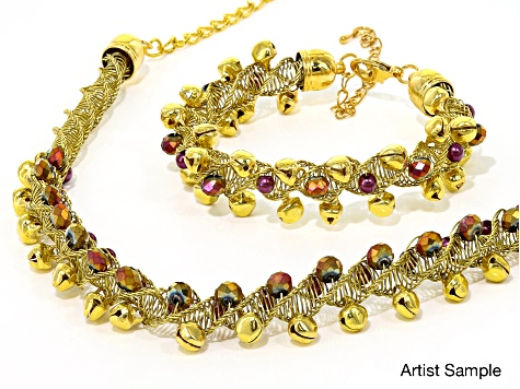With Bells On 10 Strand Wire Braiding necklace and bracelet supply and project kit in Golden Berry