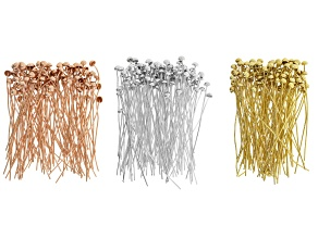 Bufftop Headpins in silver tone, rose tone & gold tone appx 300 pieces, 100 pieces in each tone