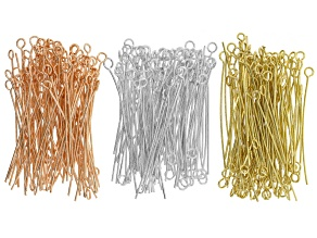 Eyepins appx 300 pieces in gold tone, silver tone & rose tone appx 100 pieces of each tone