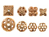 Bead Findings Set of 60 pieces assorted styles in Antique Brass Tone