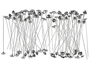 Fancy Headpin in Antique Silver Tone in 4 styles 80 pieces