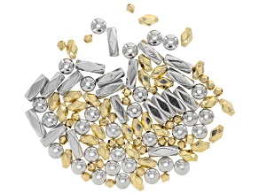 Spacer Beads in 4 Styles in Gold Tone & Silver Tone 110 pieces total