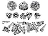 Cup Component Assortment in Antique Silver Tone in 5 Styles 23 pieces