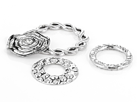 Textured Connect Rings in Antique Silver Tone in 4 Styles 75 pieces