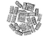 Tube Beads in Antique Silver Tone appx 20x10mm in 3 Styles 24 pieces total