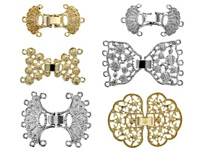 Fancy Fold Over Clasp Set of 6 in 5 Styles in Gold & Silver Tone