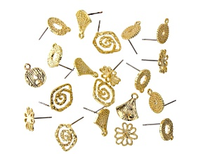 Earring Component Set in 5 Styles in Gold Tone appx 20 pieces total