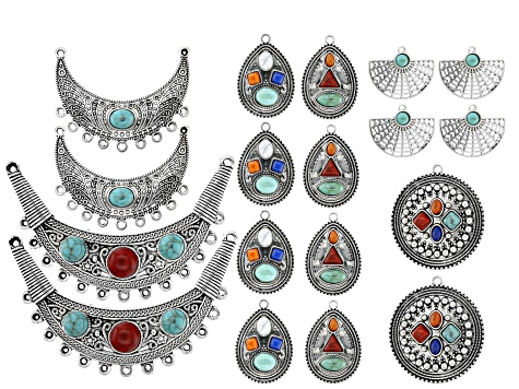 Necklace & Earring Component Set in 6 Styles in Antique Silver Tone 18 Pieces Total