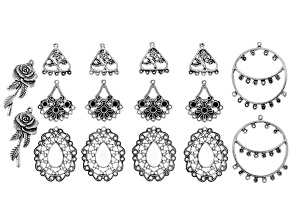 Earring Component Kit in Antique Silver Tone in 5 Styles with 16 pieces Total