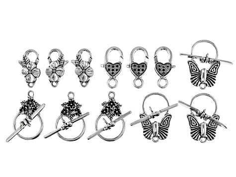 Clasp Set in Antique Silver Tone in 4 Styles 18 Pieces Total