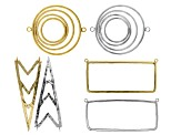 Focal Assortment in Silver Tone and Gold Tone in 3 Styles 6 pieces Total
