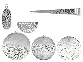 Finding Assortment in Silver Tone over Brass in 6 Styles