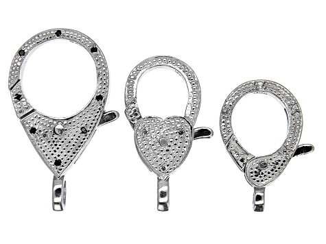 Lobster Clasp Set of 3 in Sterling Silver with Black Spinel & White Topaz Accents
