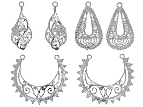 Earring Findings Set of 3 in Silver Tone