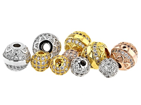 Designer Round Spacer Bead Rhodium 14K Gold & 14K Rose Gold over Brass w/ CZ Accent Stones 10 Pieces