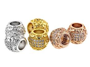 Designer Round Spacer Bead in 14K Rose Gold, 14K Gold & Rhodium over Brass CZ Accent Stones 6 Pieces