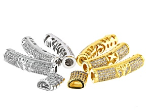 Designer Tubes in Rhodium & 14K Gold over Brass CZ Accent Stones in 2 Styles 8 Pieces