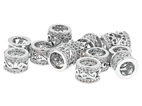 Designer Spacer Beads in Rhodium over Brass with CZ Accent Stones in 3 Styles 12 Pieces Total