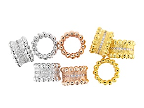 Designer Round Spacer Bead in Rhodium, 14K Gold & 14K Rose Gold over Brass 8 pieces CZ Accent Stones