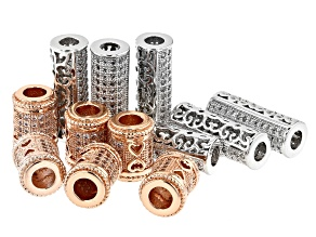 Designer Barrel Spacer Beads Rhodium & 14K Rose Gold over Brass with CZ Accent Stones 12 pieces