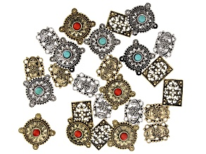 Connector Set in 5 Styles in Antique Silver & Gold Tone 25 pieces total